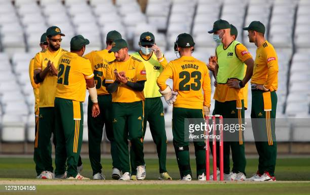 Players of Notts Outlaws sanitise their hands during the T20 Vitality Blast 2020 match between Notts Outlaws and Derbyshire Falcons at Trent Bridge...