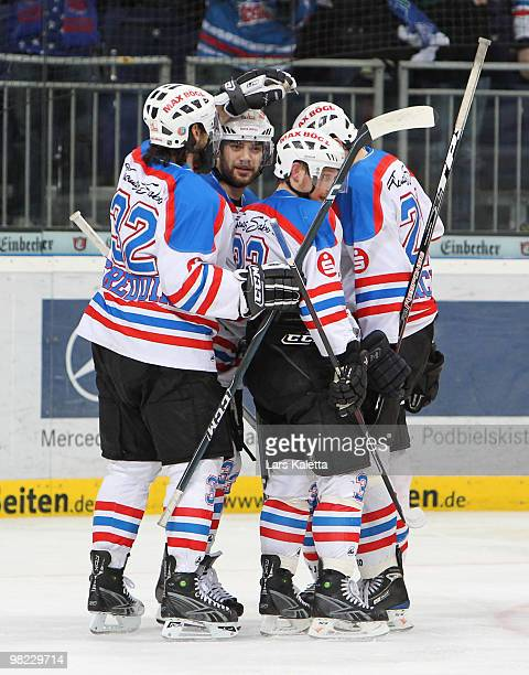 Players of Nuernberg celebrate a goal during the third DEL quarter final playoff game between Hannover Scorpions and Thomas Sabo Ice Tigers at TUI...