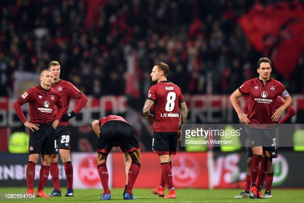 Players of Nuernberg react after the Bundesliga match between 1 FC Nuernberg and VfL Wolfsburg at MaxMorlockStadion on December 14 2018 in Nuremberg...