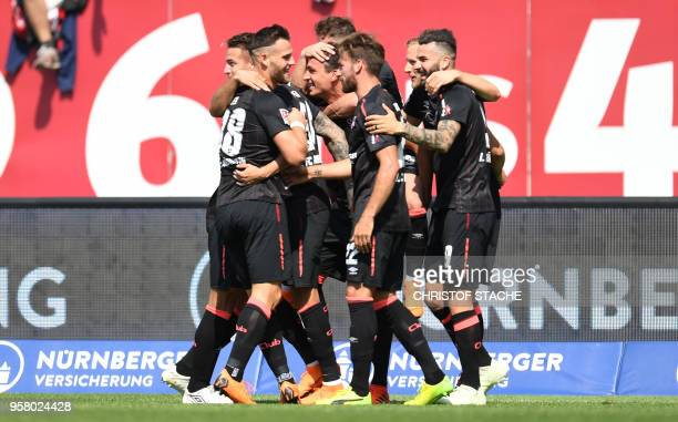 Players of Nuremberg celebrate after scoring the 10 during the German second division Bundesliga football match 1 FC Nuernberg vs Fortuna Duesseldorf...