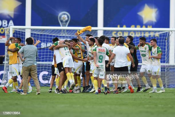 Players of of Defensa y Justicia celebrates after defeating Lanus by 3-0 in the final of Copa CONMEBOL Sudamericana 2020 at Mario Alberto Kempes...
