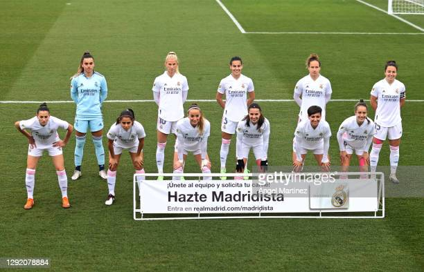 Players of of Real Madrid pose prior to the Primera Iberdrola match between Real Madrid and Atletico de Madrid at Ciudad Real Madrid on December 19,...