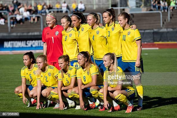 Players of of Sweden Emma Holmgren, Rebecka Blomqvist, Anna Oskarsson, Ellen Lofqvist, Nathalie Bjorn, Anna Anvegard, Michelle De Jongh, Maja...