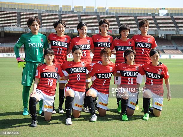 Players of of Urawa reds pose for photograph prion to the Nadeshiko League match between Urawa Red Diamonds Ladies and Vegalta Sendai Ladies at Urawa...