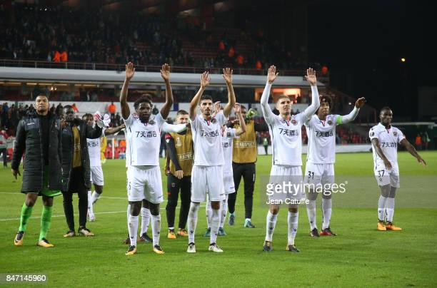 Players of OGC Nice celebrate the victory following the UEFA Europa League match between SV Zulte Waregem and OGC Nice at Regenboogstadion on...
