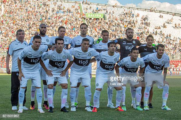Players of Olimpia pose for a team photo prior to a match between Olimpia and Cerro Porteño as part of the 17th round of Torneo Clausura 2016 at...