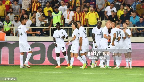 Players of Olimpija Ljubljana celebrate a goal during the UEFA Europa League second qualifying match between Yeni Malatyaspor and Olimpija Ljubljana...