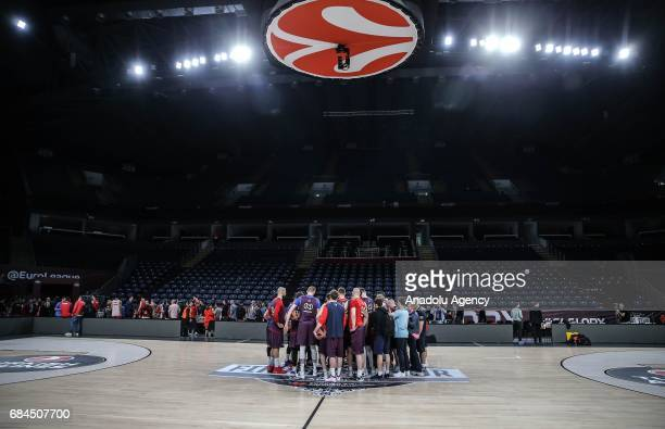 Players of Olympiacos attend a training session ahead of the Turkish Airlines Euroleague Final Four at Sinan Erdem Dome in Istanbul Turkey on May 18...