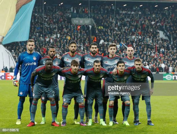 Players of Olympiacos pose for a photo ahead of the UEFA Europa League Round 16 secondleg match between Besiktas and Olympiacos at Vodafone Arena in...