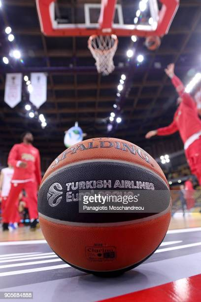 Players of Olympiacos warm up in the background of the official ball of the game before the 2017/2018 Turkish Airlines EuroLeague Regular Season...