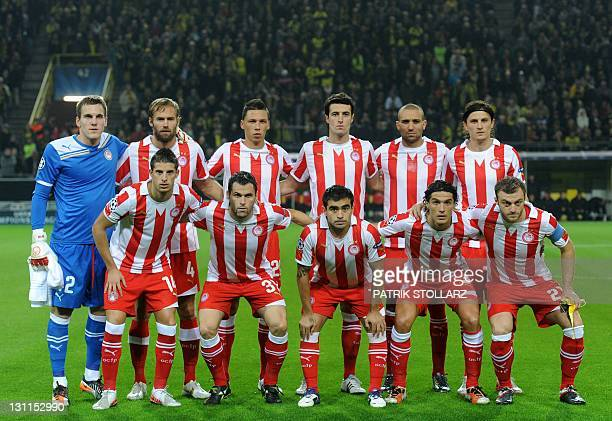 Players of Olympiakos FC Piraeus pose for a team picture prior to the UEFA Champions League group F first leg football match between Borussia...