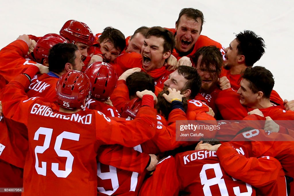 Players of Olympic Athlete from Russia celebrate winning the gold medal following the Men's Ice Hockey Gold Medal match between Germany and Olympic Athlete from Russia on day sixteen of the PyeongChang 2018 Winter Olympic Games at Gangneung Hockey Centre on February 25, 2018 in Gangneung, South Korea.