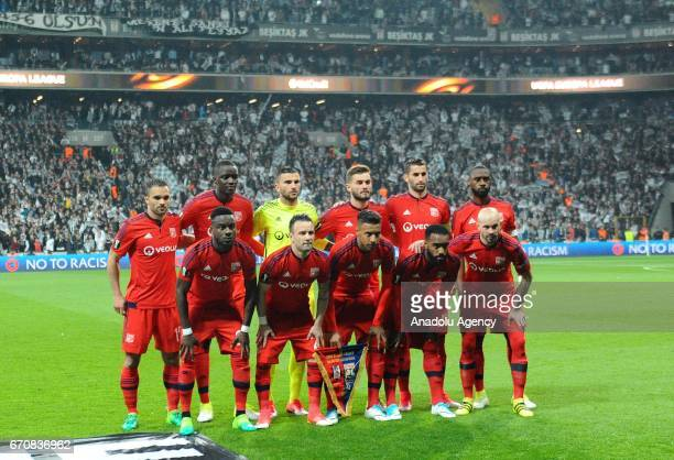 Players of Olympique Lyonnais pose for a photo prior to the UEFA Europa League quarter final second match between Besiktas and Olympique Lyonnais at...