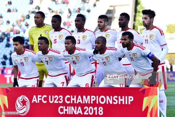 Players of Oman line up during 2018 AFC U23 Championship between China and Oman at Changzhou Olympic Sports Centre on January 9 2018 in Changzhou...