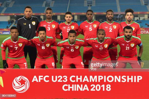 Players of Oman line up prior to the AFC U23 Championship Group A match between Oman and Qatar at Changzhou Olympic Sports Center on January 12 2018...