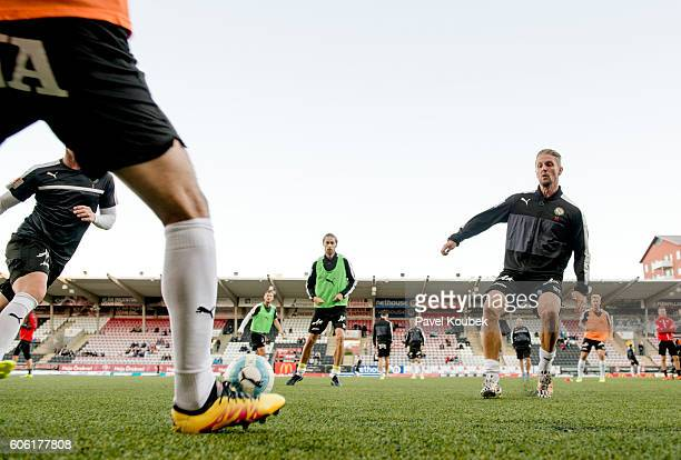 Players of Orebro SK is warming up during the Allsvenskan match between Orebro SK GIF Sundsvall at Behrn Arena on September 16 2016 in Orebro Sweden