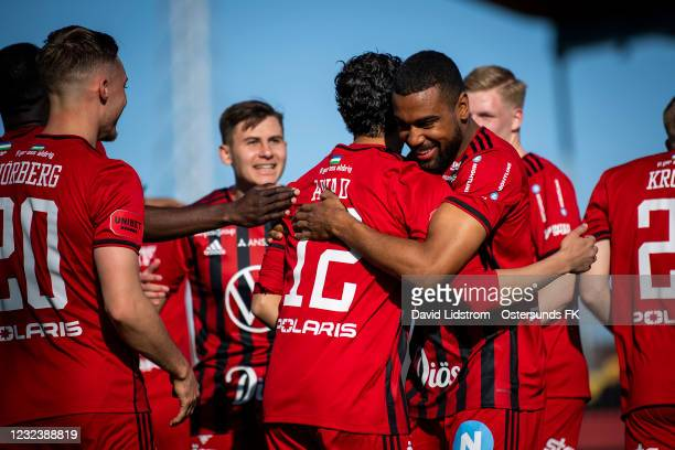 Players of Ostersunds FK celebrates after the 5-0 goal during the Allsvenskan match between Ostersunds FK and Orebro SK at Jamtkraft Arena on April...