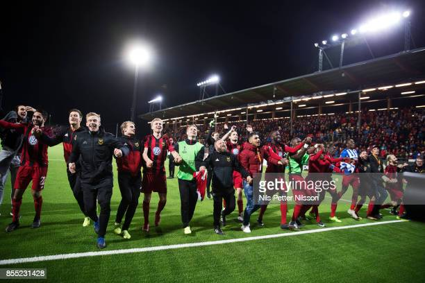 Players of Ostersunds FK celebrates after the victory during the UEFA Europa League group J match between Ostersunds FK and Hertha BSC at Jamtkraft...