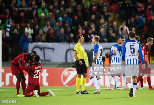 Players of Ostersunds FK celebrates and players of Herta Berlin SC dejected after the UEFA Europa League group J match between Ostersunds FK and...