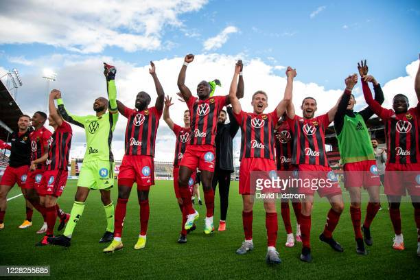 Players of Ostersunds react after the Allsvenskan match between Ostersunds FK and Falkenbergs FF at Jamtkraft Arena on August 29, 2020 in Ostersund,...