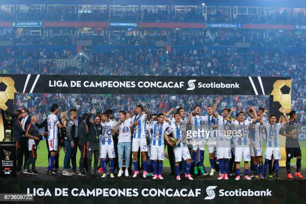 Players of Pachuca celebrate after winning the Final second leg match between Pachuca and Tigres UANL as part of the CONCACAF Champions League...