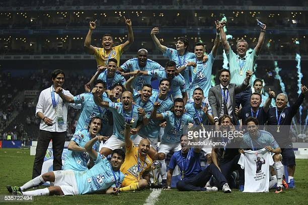 Players of Pachuca celebrate victory with the trophy after winning the Final second leg match of the Clausura 2016 Liga MX against Monterrey at BBVA...