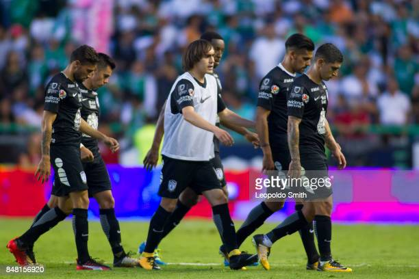 Players of Pachuca leave the field after the 9th round match between Leon and Pachuca as part of the Torneo Apertura 2017 Liga MX at Leon Stadium on...