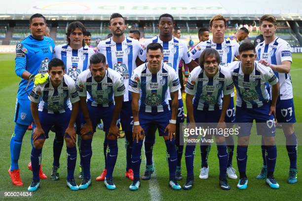Players of Pachuca pose during the second round match between America and Pachuca as part of the Torneo Clausura 2018 Liga MX at Azteca Stadium on...