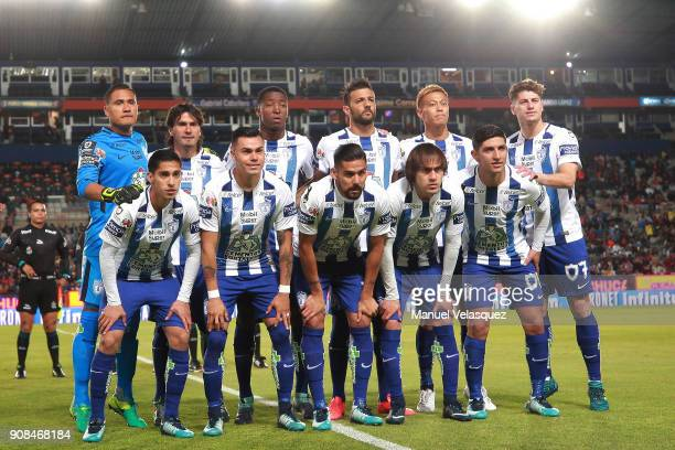 Players of Pachuca pose prior the 3rd round match between Pachuca and Lobos BUAP as part of the Torneo Clausura 2018 Liga MX at Hidalgo Stadium on...