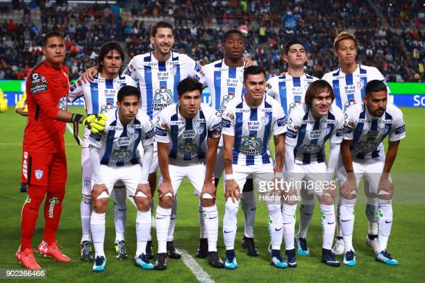 Players of Pachuca pose prior the first round match between Pachuca and Pumas UNAM as part of the Torneo Clausura 2018 Liga MX at Hidalgo Stadium on...