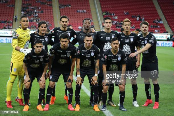 Players of Pachuca pose prior the match between Chivas and Pachuca as part of the Torneo Clausura 2018 Liga MX at Akron Stadium on February 17 2018...