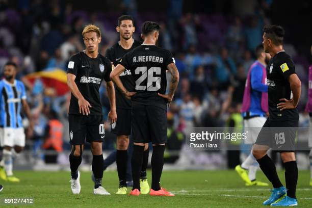 Players of Pachuca show dejection after their 01 defeat in the FIFA Club World Cup UAE 2017 semifinal match between Gremio FBPA and CF Pachuca on...