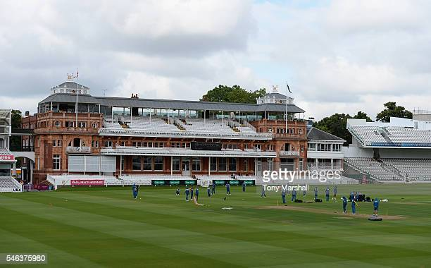 Players of Pakistan warm up in front of the Pavilion during the Pakistan Nets Session at Lords on July 12 2016 in London England