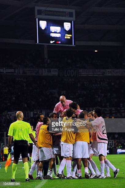Players of Palermo celebrate their third goal during the Serie A match between FC Juventus and US Citta di Palermo at Olimpico Stadium on September...