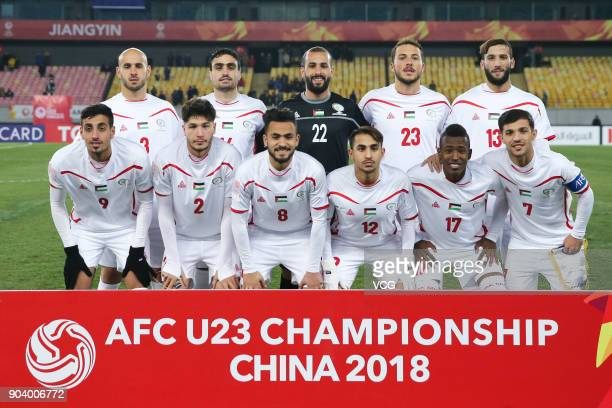Players of Palestine line up prior to the AFC U23 Championship Group B match between Japan and Palestine at Jiangyin Sports Center on January 10 2018...