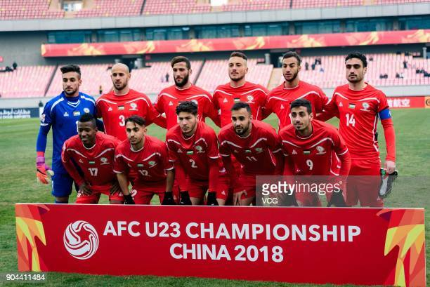 Players of Palestine line up prior to the AFC U23 Championship Group B match between Palestine and North Korea at Jiangyin Stadium on January 13 2018...