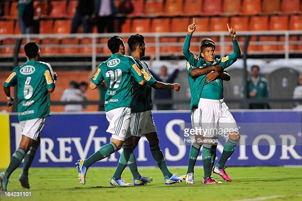 Players of Palmeiras celebrate a goal against Botafogo during a match between Palmeiras and Botafogo as part of the Paulista Championship 2013 at...