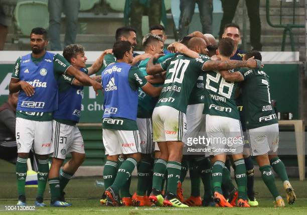 Players of Palmeiras celebrate their secong goal during the match between Palmeiras and Atletico MG for the Brasileirao Series A 2018 at Allianz...