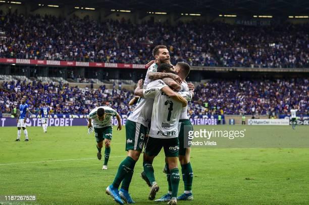 Players of Palmeiras celebrates a scored goal against Cruzeiro during a match between Cruzeiro and Palmeiras as part of Brasileirao Series A 2019 at...
