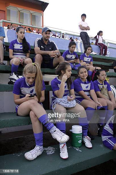Players of Palomino before the FIFA Women's Football Initiative on October 27 2011 in Asuncion Paraguay