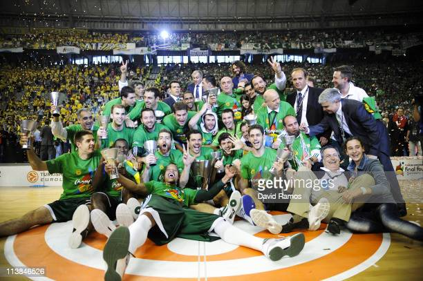 Players of Panathinaikos pose for the photographers with the trophy after winning the Turkish Airlines EuroLeague Final Four final match between...