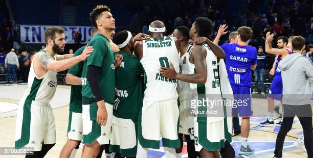 Players of Panathinaikos Superfoods Athens celebrate victory during the 2017/2018 Turkish Airlines EuroLeague Regular Season Round 8 game between...