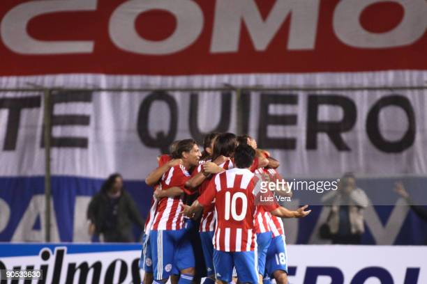Players of Paraguay celebrate scored goal against Argentina during their FIFA World Cup South Africa2010 qualifier football match at the Defensores...