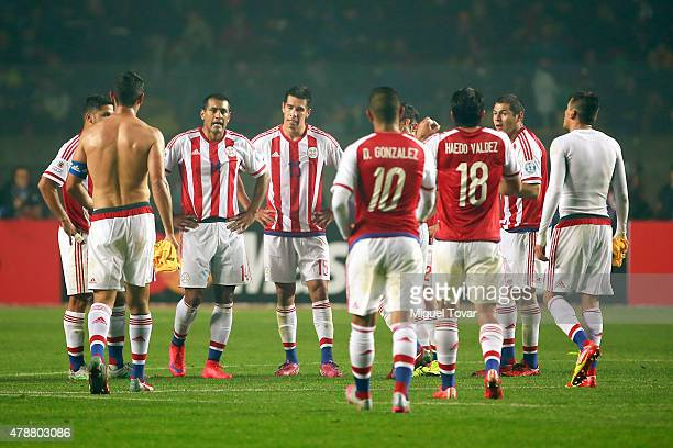 Players of Paraguay leave the field at the end of the first half during the 2015 Copa America Chile quarter final match between Brazil and Paraguay...