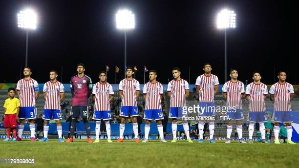 Players of Paraguay line up for the National Anthems ahead the FIFA U17 Men's World Cup Brazil 2019 group F match between Italy and Paraguay at...