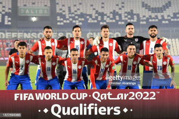 Players of Paraguay pose before a match between Paraguay and Brazil as part of South American Qualifier for Qatar 2022 at Estadio Defensores del...