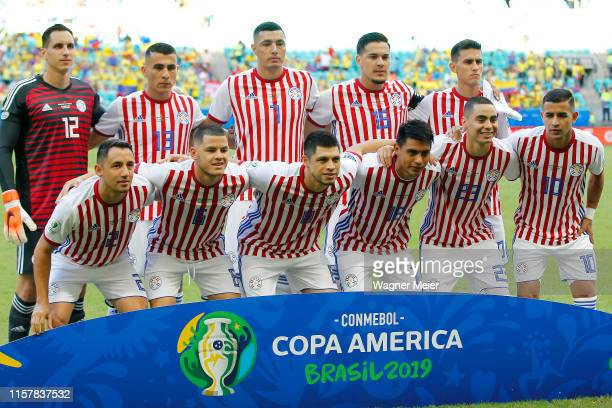 Players of Paraguay pose before the Copa America Brazil 2019 group B match between Colombia and Paraguay at Arena Fonte Nova on June 23, 2019 in...