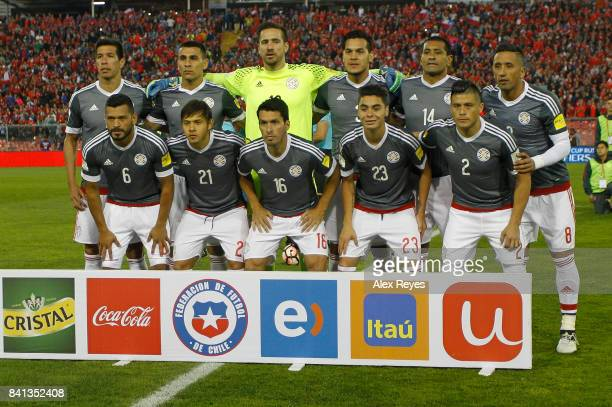 Players of Paraguay pose for a group photo prior a match between Chile and Paraguay as part of FIFA 2018 World Cup Qualifiers at Monumental Stadium...