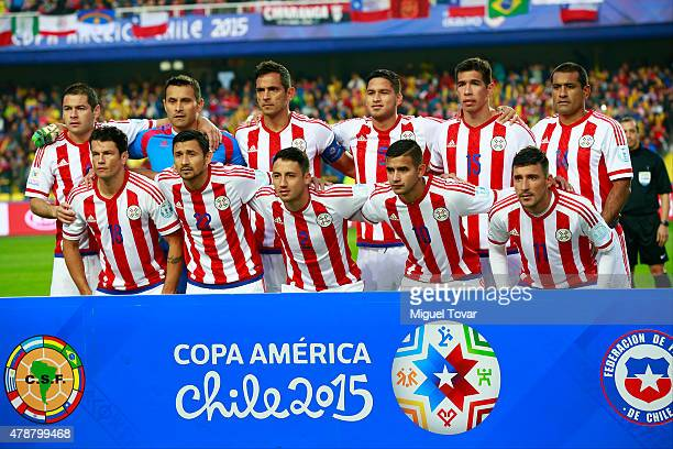 Players of Paraguay pose for a team photo prior the 2015 Copa America Chile quarter final match between Brazil and Paraguay at Ester Roa Rebolledo...