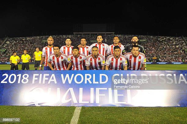 Players of Paraguay pose for a team photo prior to a match between Paraguay and Chile as part of FIFA 2018 World Cup Qualifiers at Defensores del...